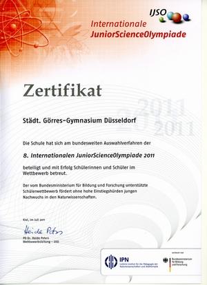 Zertifikat über die Teilnahme an der 8. Internationalen JuniorScienceOlympiade 2011